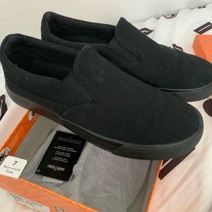 Black slip-on work shoes - size 7